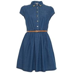 A|Wear Denim Belted dress (€24) ❤ liked on Polyvore featuring dresses, vestidos, denim, blue dress with belt, blue denim dress, belted denim dress, summer dresses with belts e a wear dresses