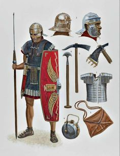 Roman Legionary and his equipment. Early 1st century CE