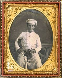 ca. 1850's, [daguerreotype portrait of a kitchen or cook apprentice waring an apron, chef's hat, and holding a dead bird]