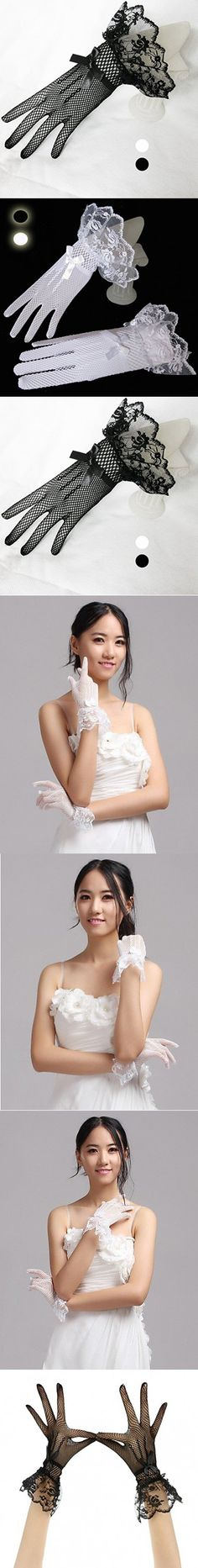 Party Fingertips Wrist Length Wedding Satin Bridal Lace Gloves (Black)