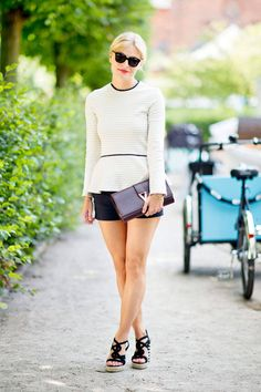 Copenhagen Street Style [Pictured: Mie Juel] Top: The Row Shorts: Joseph (Silmilar: Theory) Shoes & Clutch: YSL Sunglasses: Balenciaga