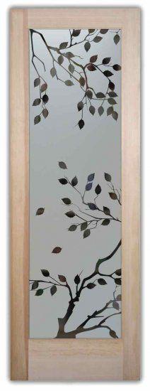 Frosted Glass Doors Etched Glass Cherry Tree Door by Sans Soucie for the sliding bathroom door.