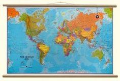 Maps International wereldkaart large houten stokken