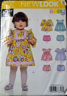 89335d358cea New Look 6316 Baby Girls' Dress and Panties Size NB-L UNCUT Complete