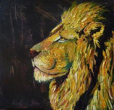 Trotse leeuw. Acryl op doek. 50 x 50 cm.