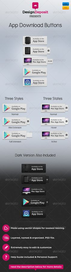 App Download Buttons Template PSD. Download here: http://graphicriver.net/item/app-download-buttons/2629583?s_rank=312&ref=yinkira