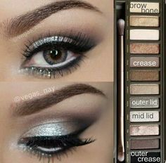 Glamorous silver smokey eye using Urban Decay Naked 2 palette. Great for prom or other formal occasions! Glamorous silver smokey eye using Urban Decay Naked 2 palette. Great for prom or other formal occasions! Kiss Makeup, Prom Makeup, Love Makeup, Makeup Looks, Hair Makeup, Wedding Makeup, Makeup Eyeshadow, Homecoming Makeup, Awesome Makeup