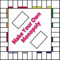 Make your own Monopoly! You'll find everything you need to make your own Monopoly game on this page. Free printable board templates, printable money and card templates! Make Your Own Monopoly, Make Your Own Game, How To Make, Board Game Template, Printable Board Games, Monopoly Board, Monopoly Game, Custom Monopoly, Monopoly Money