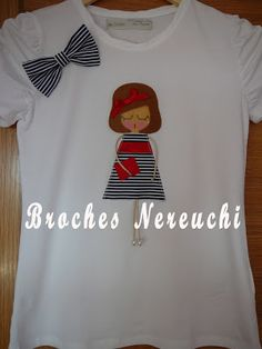 BROCHES NEREUCHI Applique, Felt Dolls, Shirts For Girls, Girl Shirts, Diy Shirt, Baby Patterns, Jewelry Crafts, Hand Embroidery, Activities For Kids
