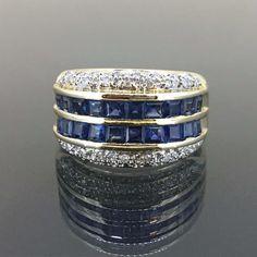 Estate 14k Yellow gold Natural Diamond & Princess cut Blue Sapphire Ring Band by crystalanchor on Etsy