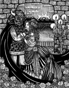 Beauty and the Beast by Ithelda on deviantART Rose Petals Falling, Beauty And The Beast Art, Fantasy Drawings, Adult Coloring Pages, Adulting, Faeries, Traditional Art, Art Images, Fairy Tales