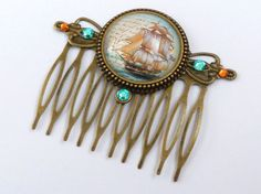 Maritime hair comb in bronze with a beautiful sailing ship motif, seafaring, navigation, sea, antique hair jewelry, vintage hair comb