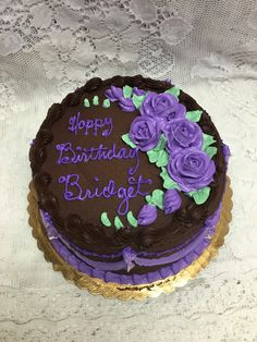 Chocolate Fudge Birthday Cake with Purple Buttercream Roses - Mueller's Bakery Purple Butterfly Cake, Butterfly Cakes, Purple Roses, Buttercream Roses, Chocolate Fudge, Birthday Cakes, Bakery, Art Pieces, Desserts