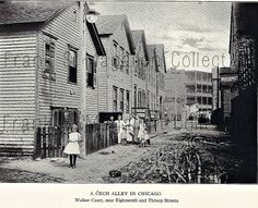"""This circa 1910-1915 view of Walker Ct. (now Ada St.) is in Chicago's Pilsen neighborhood. Ada St. is basically an alley and those are the backs of the houses that fronted on the 1600 block of S. Throop St. The """"grittiness"""" of Pilsen really fascinates me, the people who lived there really had to be tough in so many ways. Be thankful for all the sacrifice and hardships that your immigrant ancestors endured so you would have the opportunity to live the American dream."""