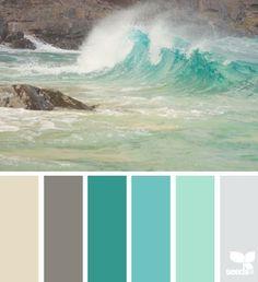 Design Seeds® Enclosed Color palette for beach house Spring Color Palette, Spring Colors, Aqua Color Palette, Seafoam Color, Sea Colour, Spring Green, Color Splash, Gray Color, Colour Schemes