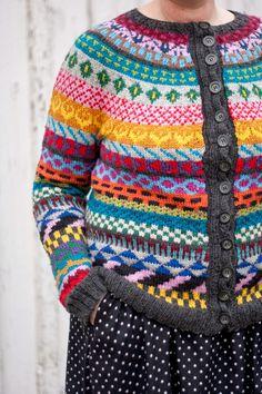 Ravelry: Emiliasfuglie s Crazy Cardigan Motif Fair Isle, Fair Isle Pattern, Knitting Machine Patterns, Sweater Knitting Patterns, Fair Isle Knitting, Hand Knitting, Crochet Woman, Knit Crochet, Cardigan Design