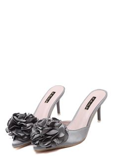 Fashion satin flowers elegant slim heel slippers YS-C5662-Lovelyshoes.net