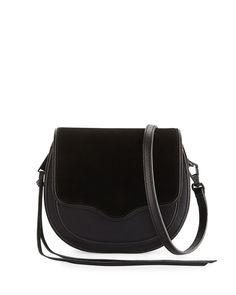 Suki Mini Suede & Leather Saddle Bag, Black
