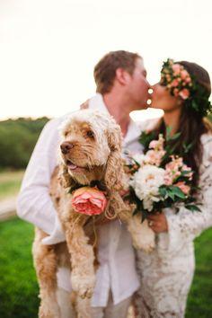 Ines and Wes's $5,500 Boho Texas Wedding. Photography by Molly Magee. See this wedding @intimatewedding #weddingdogs #weddingpets