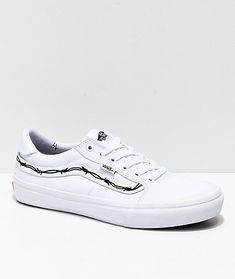 465adde8e3642a Vans x Sketchy Tank Style 112 Pro Reflective White   Black Skate Shoes.  Zumiez