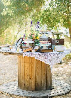 cable spool pie table @weddingchicks