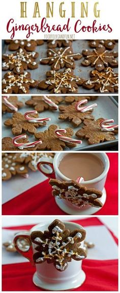 This Hanging Gingerbread Cookie recipe is a unique spin on the classic. Just add… This Hanging Gingerbread Cookie recipe is a unique spin on the classic. Just add a small candy cane to the back and hang the cookies from a nice warm cup of cocoa! Christmas Sweets, Christmas Gingerbread, Christmas Cooking, Christmas Goodies, Christmas Holidays, Gingerbread Houses, Creative Christmas Food, Christmas Entertaining, Gingerbread Cake