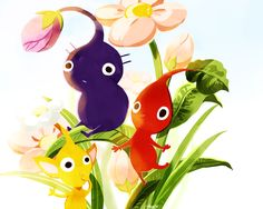 Purple Pikmin, Yellow Pikmin and Red Pikmin.