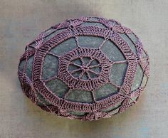 Beautiful laced stones!  Can just imagine a few in a basket on a coffee table!   Decorative Arts, Art Object, Mixed Media, Crochet Lace Stone, Original, Handmade, Table Decorations, Soft Purple with Gray Stone, Nature. $59.00, via Etsy.
