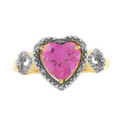 Pink Topaz Birthstone Heart Shaped Diamond Gold Ring. The ring contains a 8MM heart cut genuine pink topaz gemstone, accented by 10 white round natural diamonds. The ring is crafted in your choice of 10K, 14K or 18K solid yellow gold. Price displayed is for 10K gold. Pink topaz is October's birthstone. Available in size 4 through 10 (whole and half sizes).