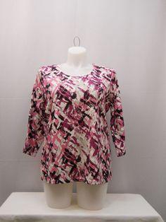 Karen Scott Top Plus Size 1X Print 3/4 Sleeves Scoop Neck Casual Pullover Knit  #KarenScott #KnitTop #Casual