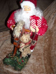 """13"""" Santa claus Christmas doll for sale in my store The Chic N Prim cottage ebay have to put in the """"the """" in search engine $30 + FREE Shipping when you spend $30 or more! figure decoration decor on rocking horse wood"""