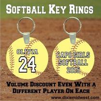 Personalized Softball Key Rings - Softball Team Gifts
