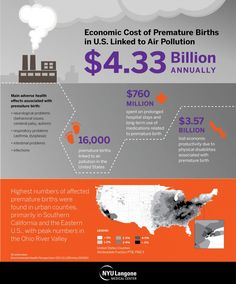 Yearly cost of US premature births linked to air pollution: $4.33 billion. Researchers say air pollution is known to increase toxic chemicals in the blood and cause immune system stress, which can weaken the placenta surrounding the fetus and lead to preterm birth.