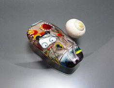 "Melanie Moertel Lampwork Beads - Handmade glass focal bead, original ""Fairy"" bead - ""Rose, Rose""  $110"