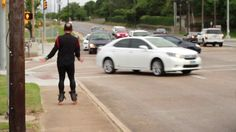 Everyday around 6pm as rush hour traffic slowly rolls through the intersection of Montrose & Allen Parkway, a mysterious dancing rollerblader appears.