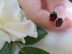 Garnet studs Sterling Silver earrings Semi by Inspiredby10 on Etsy