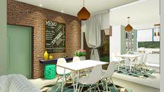 Sala de jantar com tijolo aparente. Projeto - Suzana Ganem