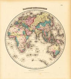J.H. Colton, 1856, Eastern Hemisphere