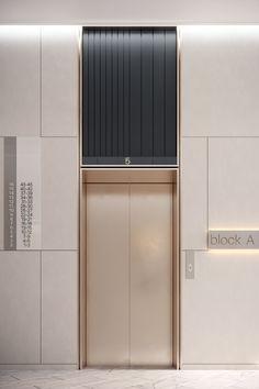 Residential lobby on Behance Hotel Lobby Design, Elevator Lobby Design, Modern Hotel Lobby, Hall Hotel, Hotel Corridor, Hall Design, Door Design, House Design, Lift Design