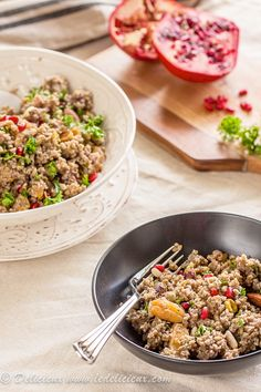 Burghul & Freekeh Pilaf with ground lamb, spices, dried apricots, pomegranate seeds and nuts