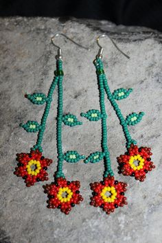 Huichol Beaded Earrings A-2 by HuicholArte on Etsy