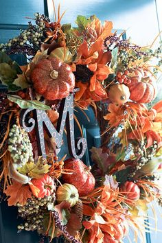 Fall front porch - love the monogram letter!!