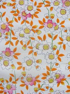 Vintage Japanese kimono fabric White Sakura Cherry Blossom by kimonomomo