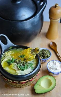 Ajiaco Colombiano (Colombian Chicken and Potato Soup) - Bing Colombian Dishes, My Colombian Recipes, Colombian Cuisine, Cuban Recipes, Columbian Recipes, Soup Recipes, Cooking Recipes, Kitchen Recipes, Comida Latina