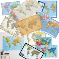 World Map Poster Antique Vintage International World Wall Classic World and United States Desk World and Map Posters, World Map Poster, Cool World Map, Wall Maps