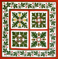 Sue Garman's exquisite appliqued quilt design is suitable for all year round, but most especially at Christmas.  mcj