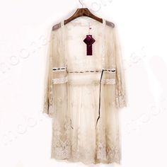 96dd672f33 Boho Beach Sheer Lace Floral Crochet Long Top Shirt Cardigan Summer Coat  Jacket