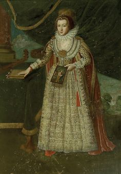 British Artist (c.1620) Portrait of a Lady oil on canvas; 195 x 136 cm Identified as Elizabeth, daughter of Sir Christopher Kenn of Kenn Court, who married John Poulett and died in 1663. She is holding a panel of the Penitent Magdalen and has a pet squirrel on her arm.