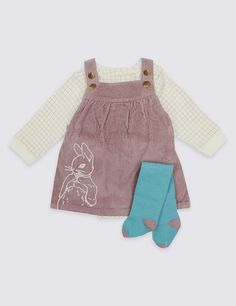 3 Piece Peter Rabbit™ Pinafore & Bodysuit with Tights