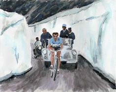 Original watercolor painting by Rachel Petruccillo of Fausto Coppi on the Stelvio Pass during the 1953 Giro d'Italia. #bicycles #vintagebicycle #cyclingart #bianchi #coppi #giroditalia